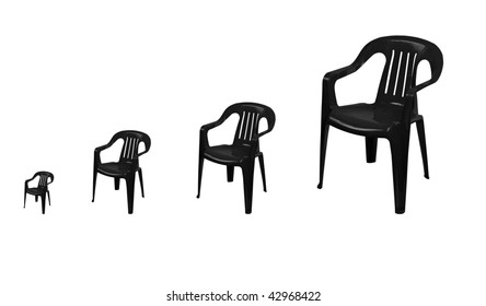 black  plastic chairs on white