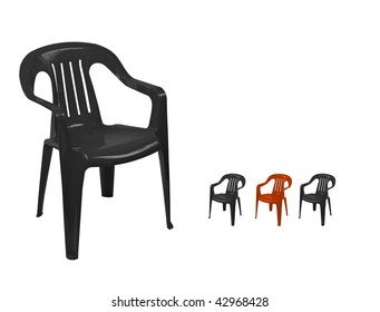 black plastic chairs and the red one on white