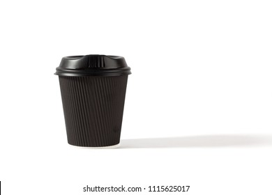 Black plastic coffee cup with lid isolated on white background with copy space