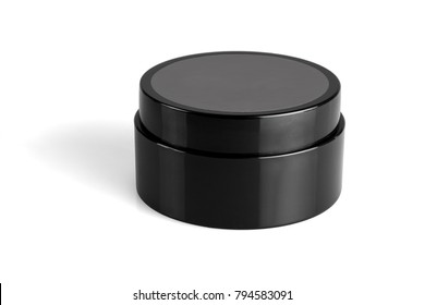 Black Plastic Container for Beauty Products on White Background