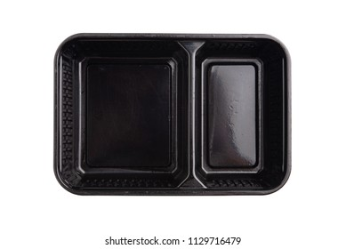 Black plastic container for dairy foods. Isolated on a white