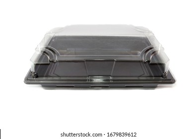 Black plastic container isolated on a white background. Capacity for products.