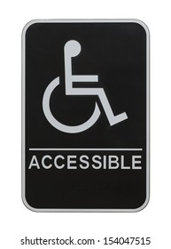 Black Plastic Disabled Wheel Chair Sign Isolated on White Background.