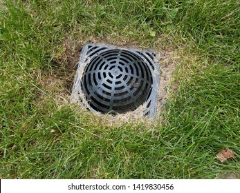 black plastic drain in green grass or lawn