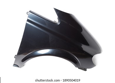 Black plastic fender on a white isolated background in a photo studio for sale or replacement in a car service. Mudguard on auto-parsing for repair or a device to protect the body from dirt.