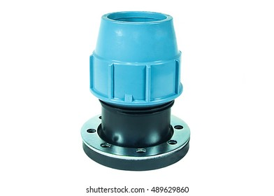 Black plastic flange adapter with blue clip. Pipeline fittings system. Isolated on white background.