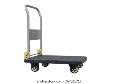 Black Plastic foldable Trolley isolated on white background with clipping path