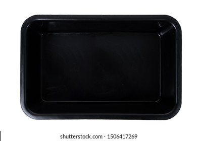 black plastic food box isolated on white background