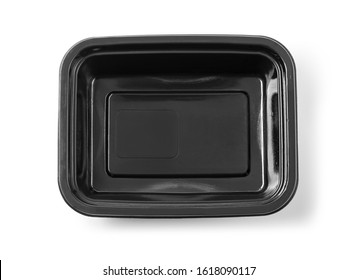 Black Plastic food container on white background with clipping path
