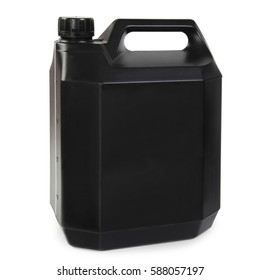 Black plastic gallon, jerry can isolated on a white background