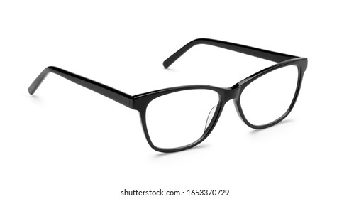 Black plastic glasses isolated on white background.