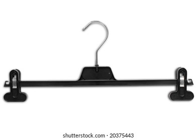 black plastic hanger with pants clippers on white