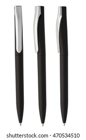 black plastic pen with silver detail