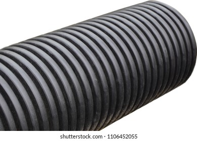 Black plastic pipe isolated on white background