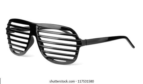 Black plastic shutter shades slatted sunglasses isolated on white