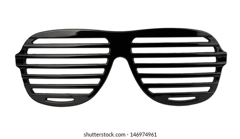 Black plastic shutter shades sunglasses isolated on white