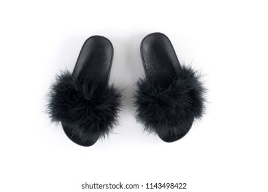 black plastic slippers with ostrich hair