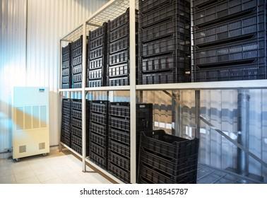 black plastic storage box