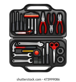 Black plastic toolkit box for keeping storage and carrying instruments and tools for repair service realistic  illustration
