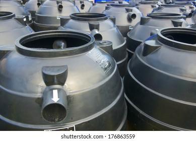 black plastic  water storage tanks outdoor