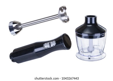 Black plastick electrical blander with accessory set isolated on the white background