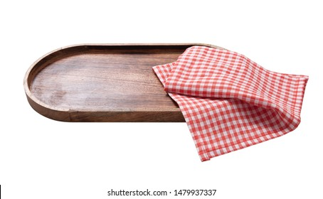 Black plate or tray, or pizza board, with tablecloth isolated on white. Top view mock up