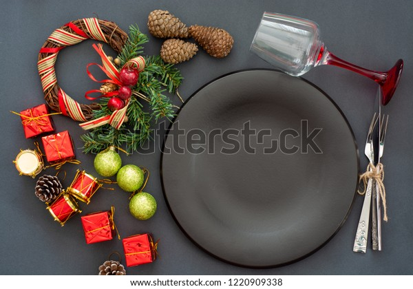 Black Plates Vintage Cutlery Christmas Decorations Stock Photo Edit Now 1220909338