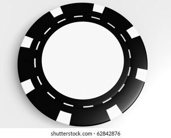 black poker chip isolated on the white