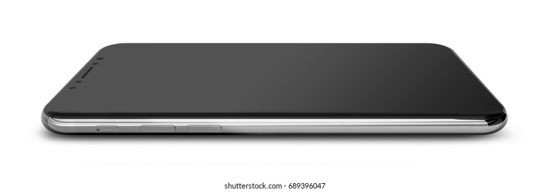 Black polished smartphones with blank screen, isolated on white background. 3d illustration.