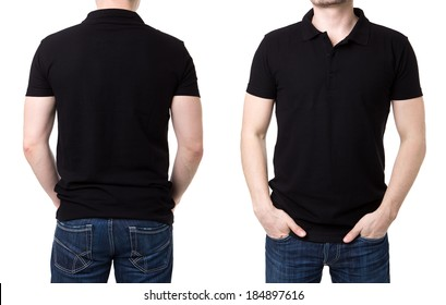 Black polo shirt with on a young man on a white background