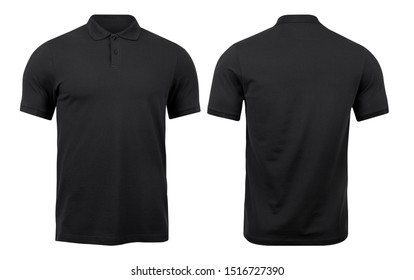 Black polo shirts mockup front and back used as design template, isolated on white background with clipping path.