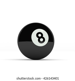 Black pool ball on a white background, 3d render