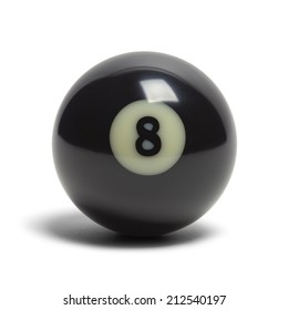 Black Pool Eight Ball Isolated on White Background.