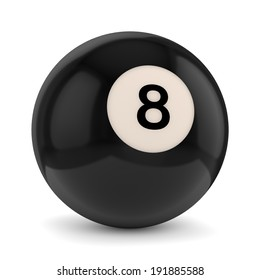 Black pool game ball with number 8 isolated on white background