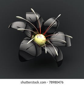 Black porcelain flower with reflection