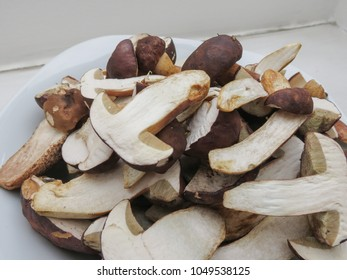 black porcini (boletus aereus) aka bronze bolete or dark cep and Neoboletus luridiformis or Suillellus luridus (formerly Boletus luridus) aka lurid bolete mushrooms food