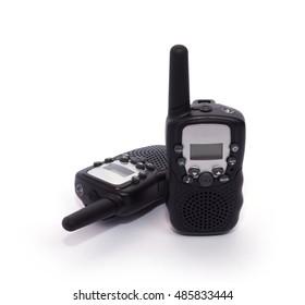 Black portable two-way radio isolated on white background