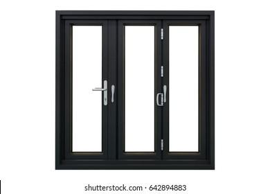 black powder coated aluminum frame bi folding doors