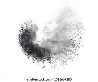 Black powder or flour explosion isolated on white background  freeze stop motion object design
