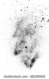 Black powder isolated on white background