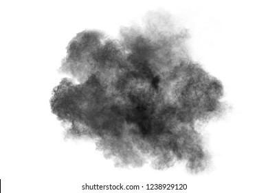 Black powder splatted background. Colorful powder explosion on white background. Colored cloud. Colorful dust explode. Paint Holi.