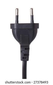 Black power cable plug european type isolated on white