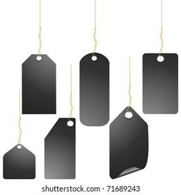 Black price tag set isolated on white