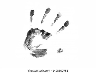 The black print of a human hand with fingers splayed. Hand print isolated on white background.