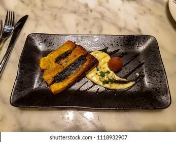 Black pudding and haggis french bread, Edinburgh, Scotland