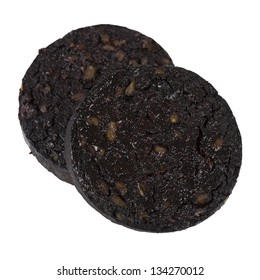 Black Pudding - Sausage made with pig's blood, oatmeal and spices isolated on a white background. Typical British cuisine.