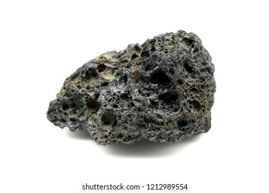 black pumice stone from Teide volcano at Tenerife on white isolated background.