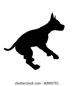 Black puppy dog art illustration silhouette on a white background