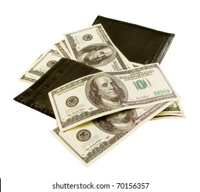 Black purse with lots of notes of 100 dollars