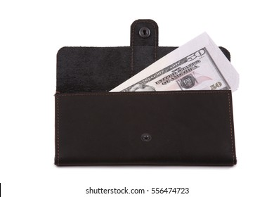 Black purse with money on white background